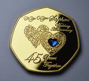 On Your 45th Wedding Anniversary with Sapphire Gemstone - Gold