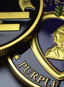 Purple Heart Commemorative - 24ct Gold, Enamel.
