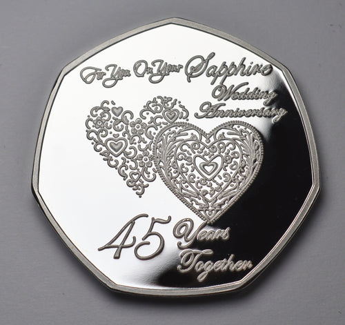 On Your 45 Sapphire Wedding Anniversary - Silver