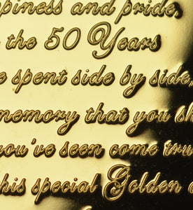 On Your 50th Golden Wedding Anniversary with Diamante Gemstone - Gold