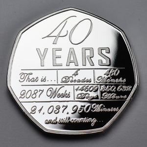 On Our 40th Wedding Anniversary 'And Still Counting' - Silver