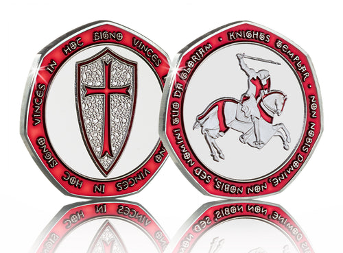 Knights Templar - Silver with Red Enamel