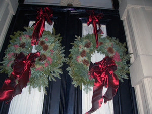 Wreaths with Ribbon and Pinecones