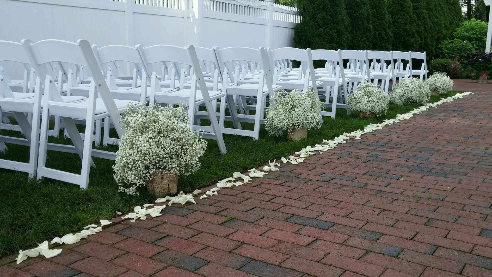 Wedding Aisle lined with Rose Petals and Baby's Breath