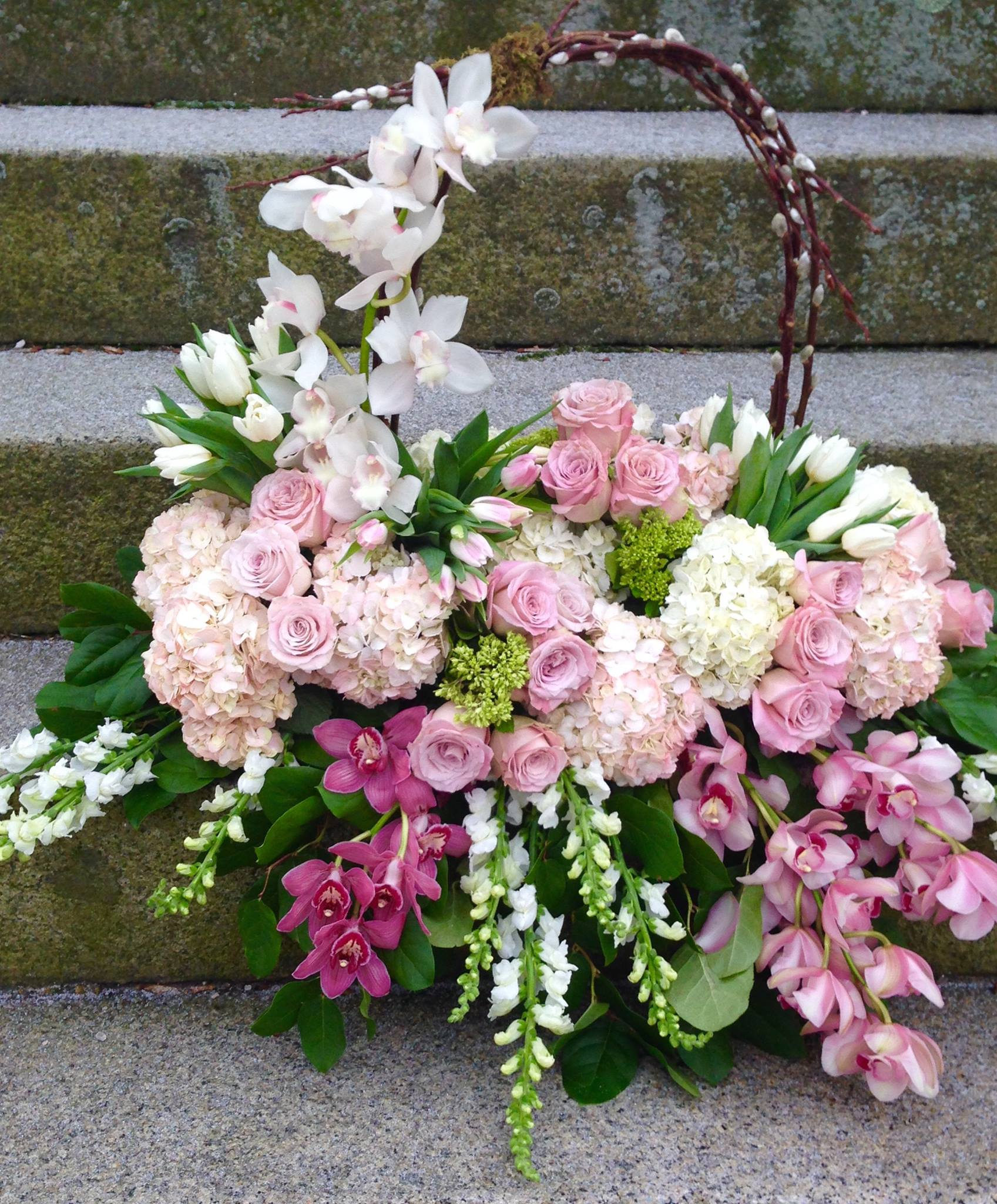 Funeral flowers gallery flores mantilla floral design gifts funeral arrangement with orchids roses hydrangeas and basket handle izmirmasajfo