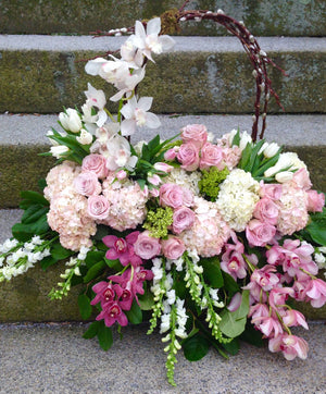 Funeral Arrangement with Orchids, Roses, Hydrangeas, and Basket Handle