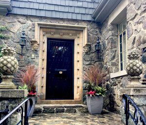 Fall Plant Display in Cement Urns Front Entrance