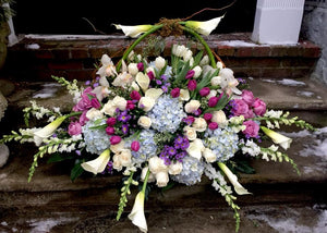 Large Casket Flower Arrangement with Calla Lilies, Hydrangeas, Roses, Tulips