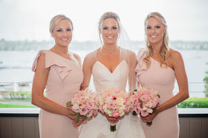 Bride with Bridesmaids and Bouquets for a Pink and White wedding