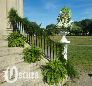 Ferns, Garland, and Ceremony Flowers for an Outdoor Gazebo Wedding