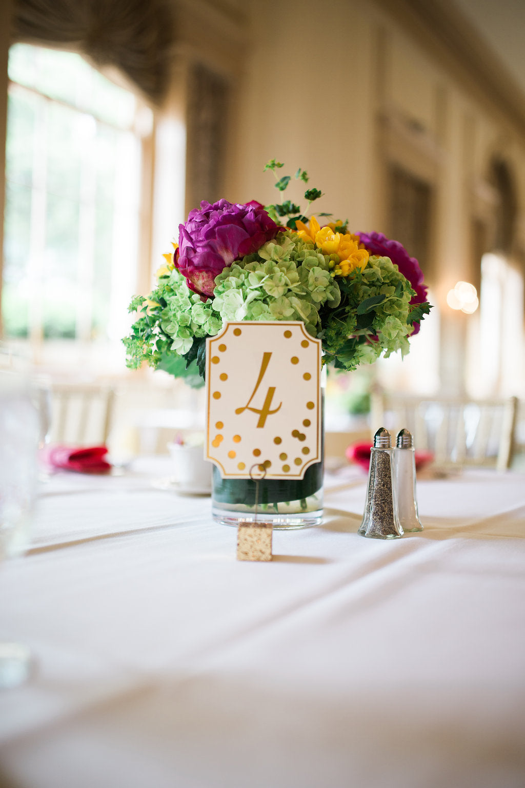 Bright Purple & Green Wedding Centerpiece with Peonies and Hydrangea
