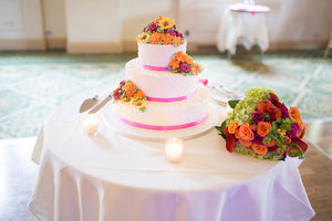 McMaster Wedding wedding cake with topper and bouquet