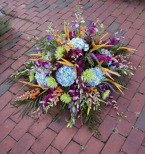 Tropical Casket Flower Arrangement