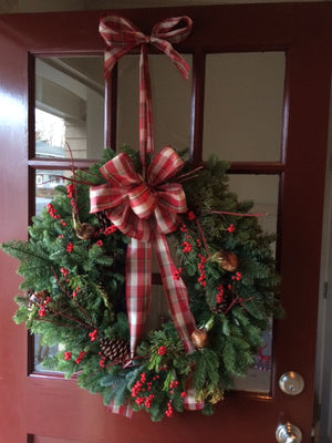 Classic Christmas Wreath with Gingham Bow