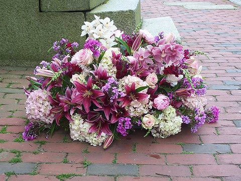 Casket Flowers with Lilys, Orchids, Hydrangeas, Roses