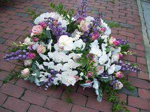 Casket Flower Arrangement with Orchids, Roses, and Delphiniums