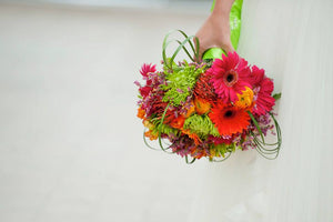 Peabody Essex Museum Bright Bridal Bouquet with Daisies and Mums and Bear Grass
