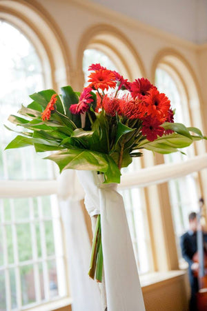 Peabody Essex Museum Bouquet with Red Daisies and Greens