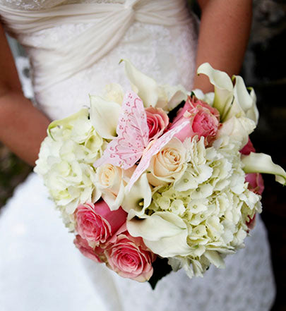 Close-up of Bridal Bouquet with Butterfly