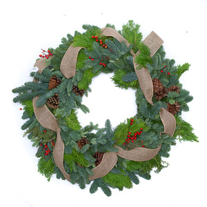 Classic Christmas Wreath 24""
