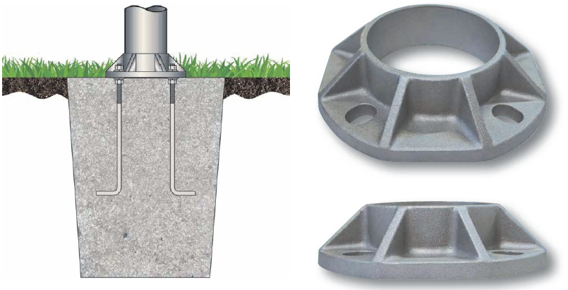 Cast Aluminum Flagpole Shoe Base - For 5 inch Butt Diameter Flagpole