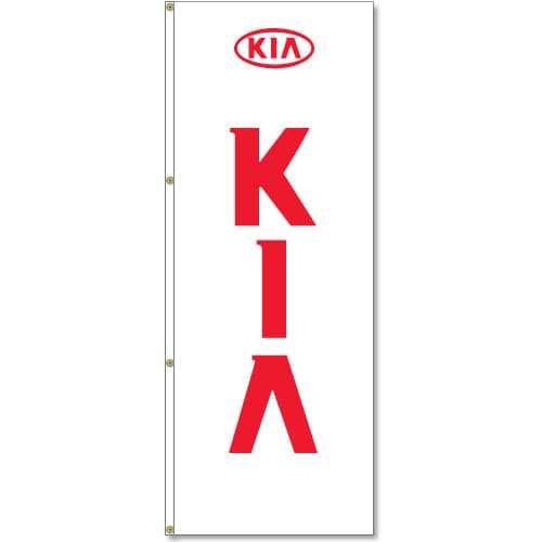 3x8ft Vertical KIA Logo Flag / Double Sided Printing