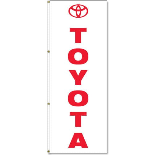 3x8ft Vertical Toyota Logo Flag / Double Sided Printing