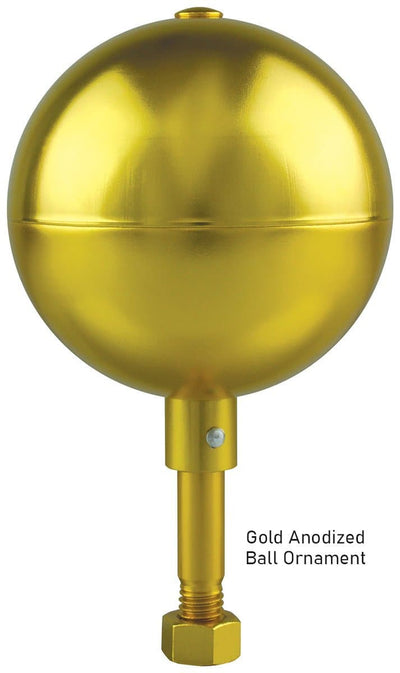 Gold Anodized Commercial Flagpole Ball Ornament