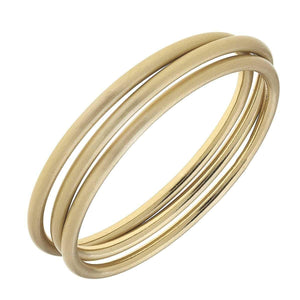 Isla Bangles in Satin-Finished Gold