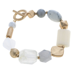 Aerin Gemstone T-Bar Bracelet In White
