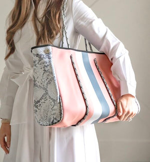 Pink & Grey Stripe Neoprene Tote
