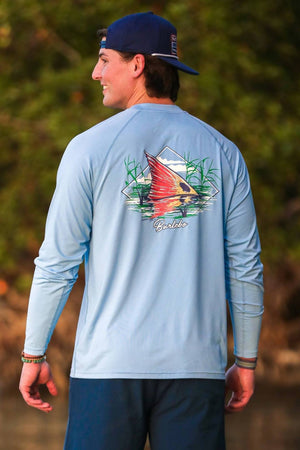Burlebo Fish Fin Sun Tee in Columbia Blue