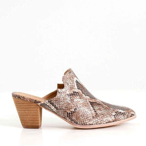 Haisley Mules in Brown Snake