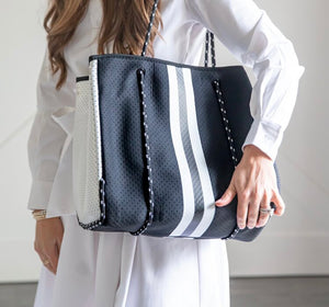 Black & White Stripe Neoprene Bag
