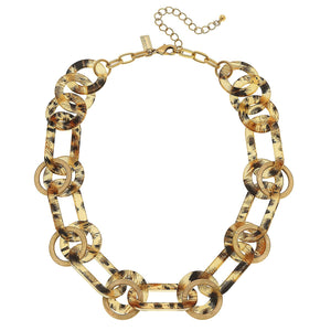 Maren Resin Chain Link Statement Necklace in Leopard
