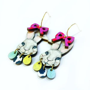 Audra Style Bunny Face Earrings in Pink Dot Egg Dangles