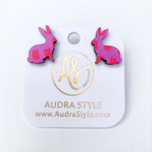Audra Style Bunny Stud Earrings in Pink Dot