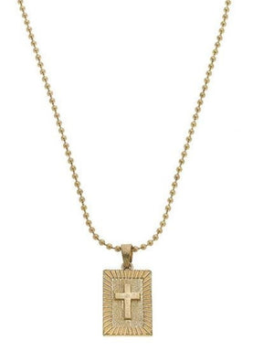 Faith Cross Ball Chain Necklace In Worn Gold