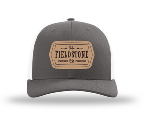 Fieldstone Leather Patch Hat -Grey/White