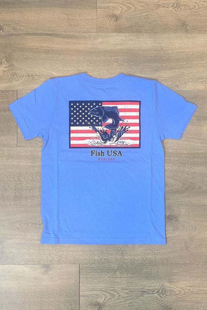 Burlebo Fish USA Youth Tee in Heather Periwinkle