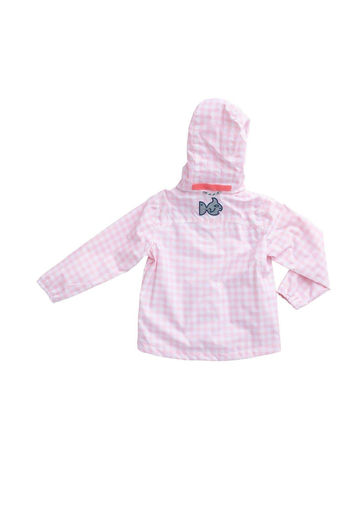 Girl's Water and Wind Reflective Jacket in Pink Gingham