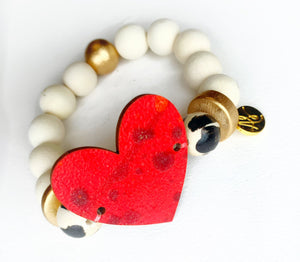 Valentines Day Bracelet  -Red Heart