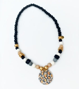 Beaded Focal Pendant Necklaces Leopard Print Pendant