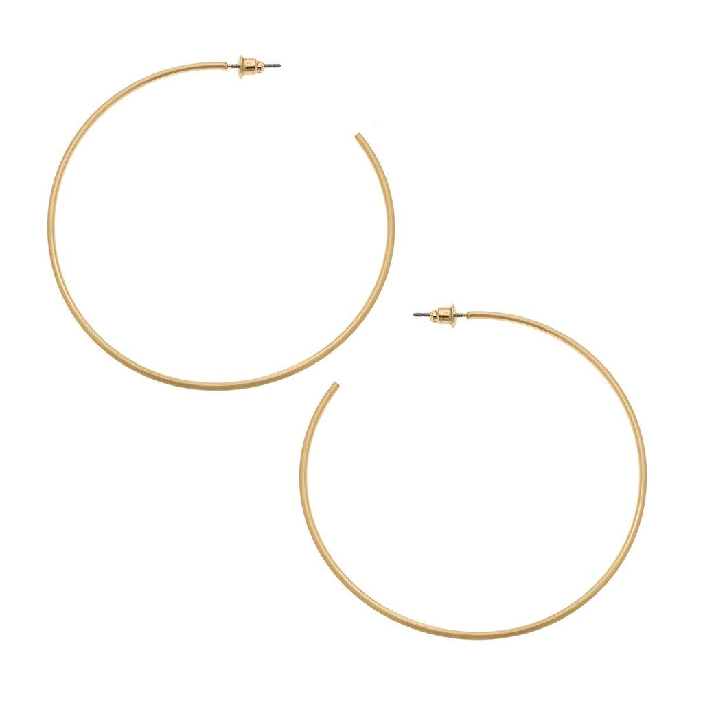 Gwen Hoop Earrings In Satin Gold