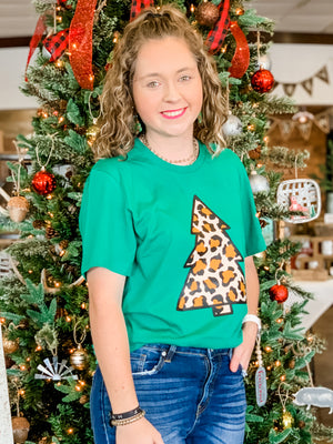 Leopard Tree Tee in Green