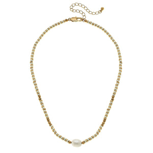 Lulu Freshwater Pearl Beaded Metal Necklace in Two-Tone