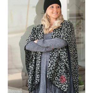 Black Leopard Kennedy Shawl