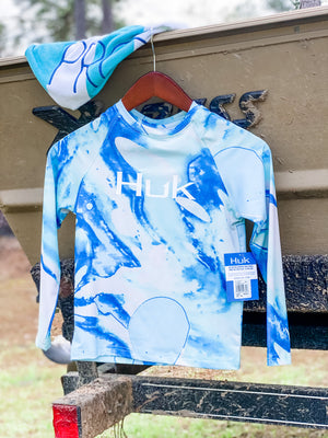 HUK Youth Tie Dye Lava Shirt -Seafoam