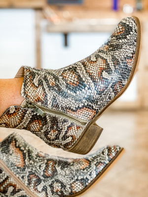 Neal Bootie in Brown Snake