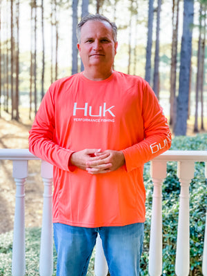 HUK ICON X LONG SLEEVE- Coral
